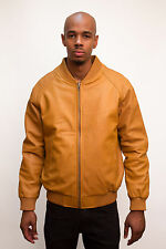 Jakewood Men's Cognac Brown Genuine Lambskin Leather Baseball Jacket, Size L