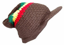 Rasta Reggae Beanie Hat Brown Knitted Cotton peaked Adult Small Size