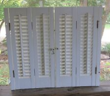 """Pair of White Vinyl Faux Wood Interior LOUVERED SHUTTERS 24"""" Tall (4 Panels)"""