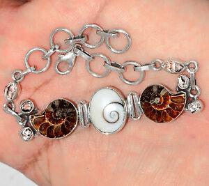 """16g Shiva Eye, """"Fossil"""" Ammonite & Herkimer Diamond 925 Silver Bracelet SB16511"""