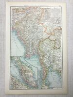 1899 Antique Map of Malaysia Burma Gulf of Siam Sumatra 19th Century Original