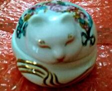 Vintage Elizabeth Arden Sleeping Cat Trinket Box - hand painted - ceramic