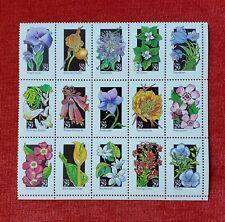 US Scott # 2647-96 29c WILDFLOWERS Pane of 15 Stamps MNH