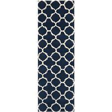 Hand-Tufted Moroccan Dark Blue/Ivory Wool Rug 2' 3 x 11' Runner