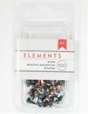 American Crafts Elements METALLIC Mini Brads 4mm 100/pk Black White Grey 366334
