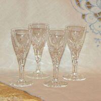 """STUART CUT CRYSTAL ELLESMERE CORDIAL GLASSES 4 1/4"""" VINTAGE 4 FANCY LIQUEUR FERN"""