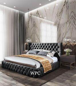 Plush Velvet Buckingham Bed, Wing Back Bed,  Winged Bed, Bed Frame In All Sizes
