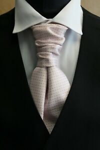 MENS AND BOYS SPOTTED CRAVATS (PINK-IVORY-WHITE WITH BLACK SPOT)