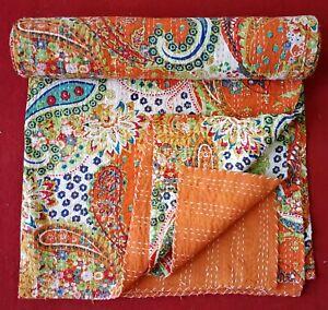 Paisley Handmade Kantha Quilt Indian Bedspread Throw Cotton Blanket Gudari Throw