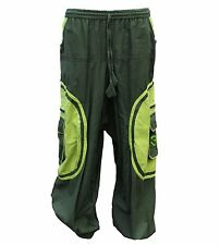 Harem Pants Mens hippy Trousers Om patch cotton hippie baggy Ali baba bag pocket