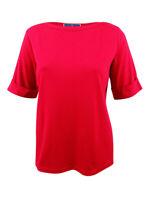 Karen Scott Women's Plus Size Cotton Cuffed-Sleeve Top