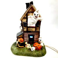 Pacific Rim Ceramic Halloween Haunted House Light Up Spooky Ghosts Pumpkins