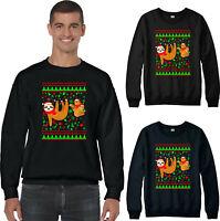 Funny Sloth Christmas Jumper, Santa Hat Cute Xmas Dance Party Gift Festive Top