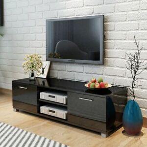 vidaXL TV Hifi Cabinet Sideboard Unit Stand High-Gloss Black MDF Low Board