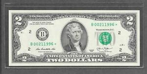 2013 B STAR - $2 UNC * Fancy Birth Year + Date # 00.21.1996 * Replacement Note