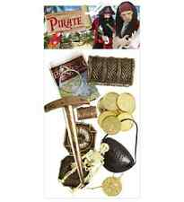 DELUXE PIRATE ACCESSORIES SET PARTY WARE KIDS BIRTHDAY COMPASS GOLD COINS TOY