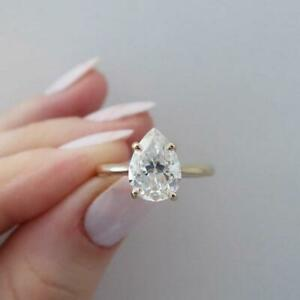2 CT Pear Cut White Diamond Solitaire Engagement Ring 14K Yellow Gold Over