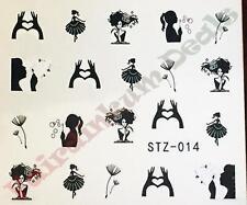 Dandelion Black Beauty Prints Nail Art Stickers Water Decals-Sheet No. STZ-014