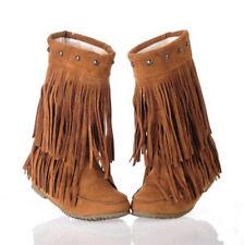Plus Size Women's Rivets Tassel Fringe Slouchy Hidden Wedge Moccasin Ankle Boots