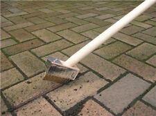 New Metal Bristle Scraper Block Paving Wire Weed Brush 1.3m Long Wooden Handle