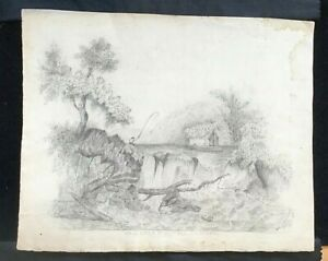 """1861 ORIGINAL PENCIL DRAWING SIGNED AND DATED  """"ST AUSTELLL"""" Ina Maunsell"""