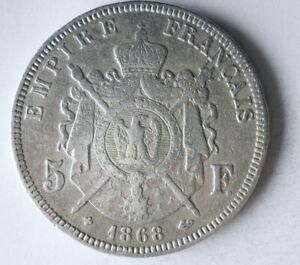 1868 FRANCE 5 FRANCS - RARE TYPE - Excellent Vintage Silver Crown Coin - Lot L26
