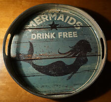 MERMAIDS DRINK FREE Nautical Beach Pub Tiki Bar Tropical Drink Tray Decor NEW