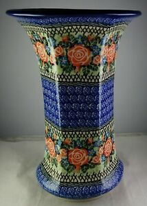 Unikat Polish Pottery Multicolored Large Multisided Flower Vase - Minty