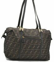 Authentic FENDI Zucca Shoulder Tote Bag Canvas Leather Brown A8497