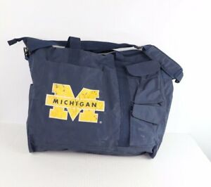 Vintage 90s Michigan Wolverines Spell Out Nylon Multi-Pocket Travel Carry On Bag