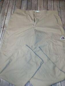 Bulwark flame resistant pants Welders Khaki Cargo Work 38-37U..j815