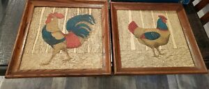 "Kay Dee Hand Prints Linen Framed Pictures Rooster Hen 16""X16"" Vintage Set of 2"