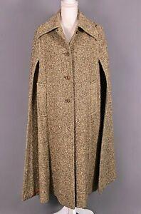 VTG Women's 60s Greenish Brown Boru Irish Tweed Winter Cape Sz S/M 1960s