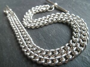 Vintage Solid Silver T-Bar Necklace or Double Albert Pocket Watch Chain 33.7g