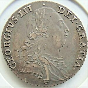 1787 No Hearts, GB George III silver one SHILLING grading EXTRA FINE. #1