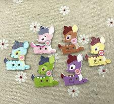 25X Mixed Deer wooden buttons sewing Scrapbooking decorations handicraft 28mm