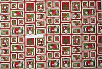 "Christmas Fabric - Debbie Mumm Ho Ho Holiday Snowman Santa Red - SSI 29"" Panel"