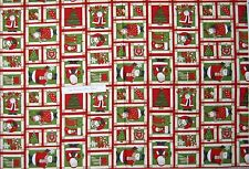 "Christmas Fabric - Debbie Mumm Ho Ho Holiday Snowman Santa Red - SSI 29"" Panel"