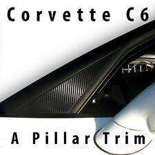 CHEVROLET CORVETTE C6 05-13 BLACK CARBON FIBER DECAL A PILLAR TRIM