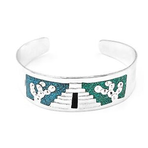 Artisan Pyramid and Cactus Silver Malachite Turquoise Cuff Bracelet from Taxco