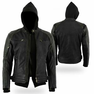 SONS ANARCHY Motorbike Racing Jacket Waxed Leather with Removable Hoodie Liner