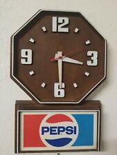 "Vintage Pepsi Cola Advertising Wall Clock Sign 13""x20""   Clock Works!"