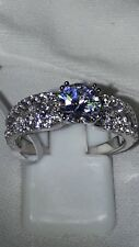 925 SILVER ENGAGEMENT RING STIMULATED DIAMOND RHODIUM PLATED SZ P USA 8 EUR 56
