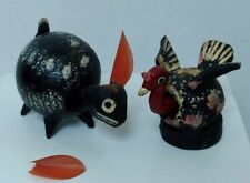 Vtg Primitive Handmade Folk Art Bobblehead Nodder Wood Bunny Turkey Bird Mini