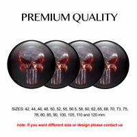 3D Print 4 x 60 mm Aufkleber Emblem Schädel Punisher Silikon Felgen Nabenkappen