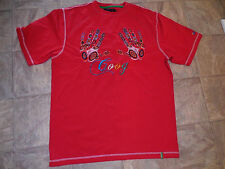 COOGI biggie hip hop Casual T SHIRT Red w/ Colorful Embroidered HANDS & LOGO XL