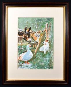 Original Irish Art Watercolour Painting Farmyard Animals Signed