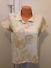 CARIBBEAN JOE LET GO PETITES Women's PL Butterflies Shirt Top Polo Snaps Floral