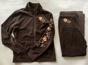 Style&Co Brown Velour Embroidered Jogger Sweat Suit Set Track Suit Sz PS