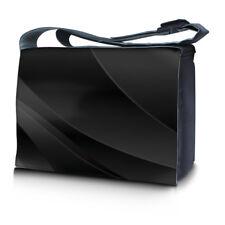 """15.6"""" 15"""" Laptop Notebook Padded Compartment Shoulder Messenger Black Waves N01"""